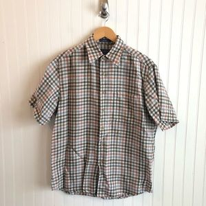 Pendleton Brown Tan Linen Plaid Button Down Shirt